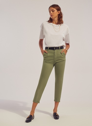 Monamoda Tek Pile Yüksek Bel Pantolon Haki
